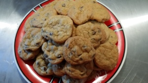 A plate of comfort food. Chocolate chip cookies. I can't eat just one.
