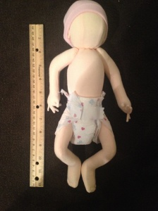 This doll was made to be the exact length and weight as Emma when she was born.